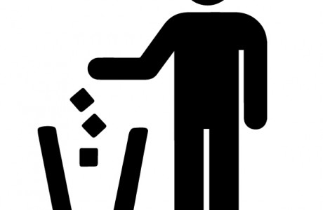 Icon of man putting trash in trashcan