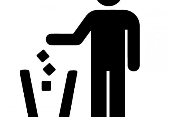 Icon of man putting trash in trashcan